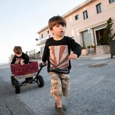otroka, igra, voziček