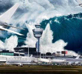 cunami, letalo, letališče, val