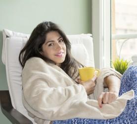 čaj, bolezen, ženska, prehlad, počitek