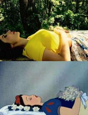 Zgoraj Natalija, spodaj legendarna Disneyjeva Sneguljčica - podobnost je očitna.