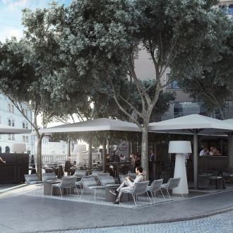 Prenovljena kavarna Tromostovje, zasnova: arhitekturni biro Arhimetrics