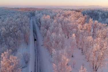 Balakhta, sibirija, rusija, zima, sneg,