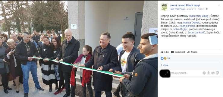 Cakić, osumljen uboja igralca Tiča, je z Jankovićem in Brglezem marca odprl nove prostore Mladih zmajev