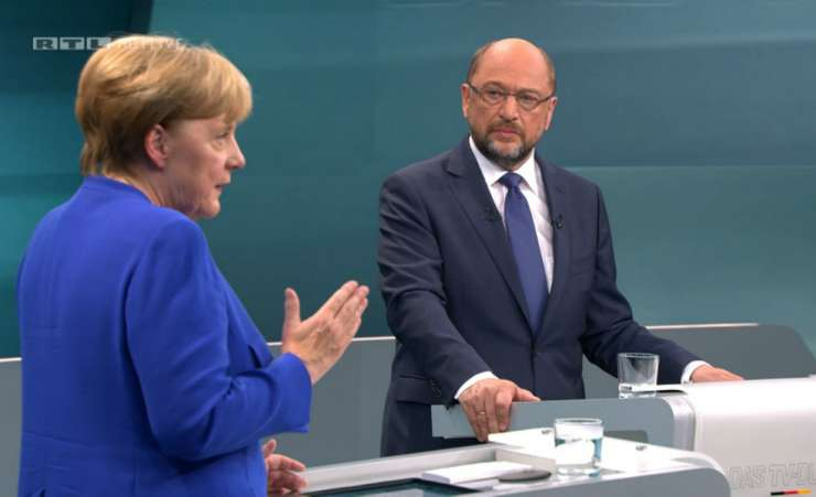 Ne hvala, pravi Merklova Schulzu, ki hoče še eno televizijsko soočenje