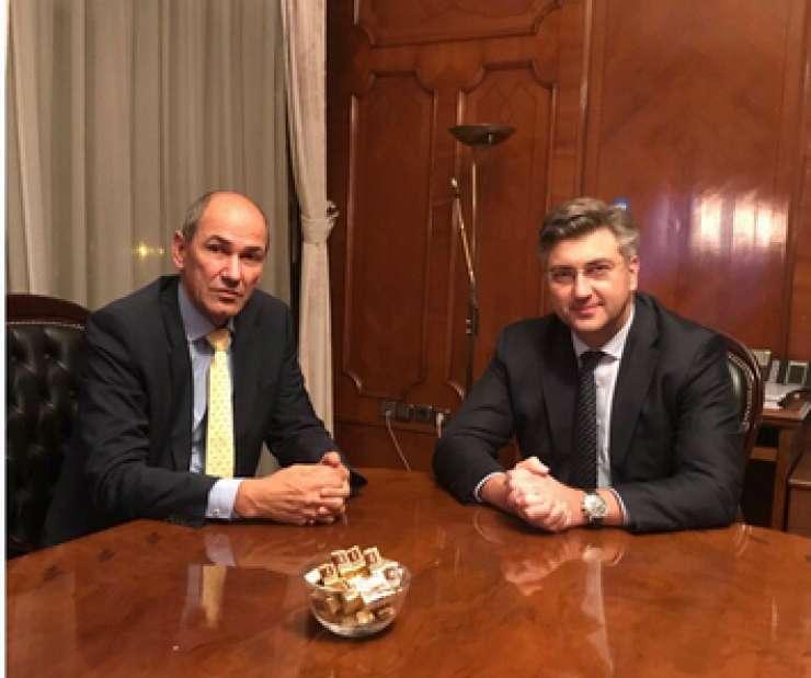 Janez Janša v Zagrebu pri Plenkoviću o arbitraži