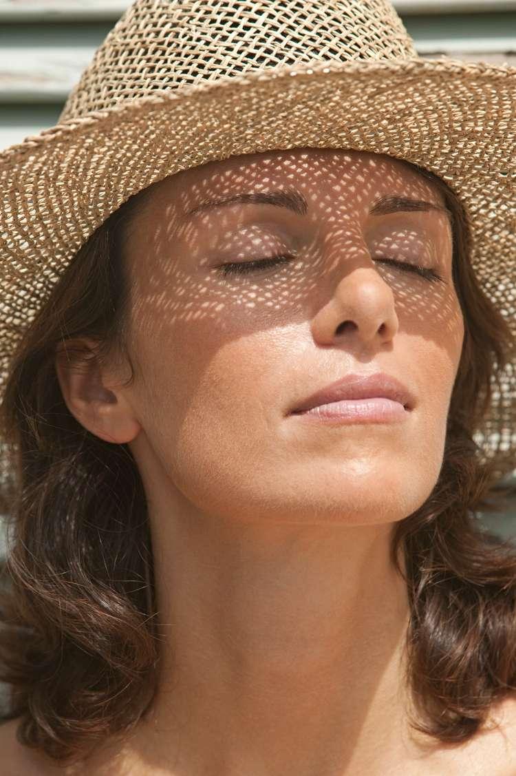 ženska, klobuk, senčnik, sonce