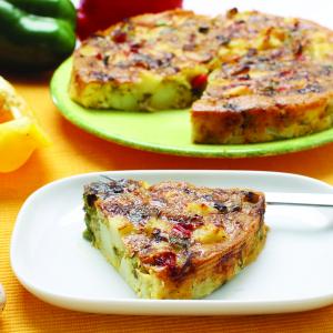 Krompirjeva omleta s šampinjoni in papriko