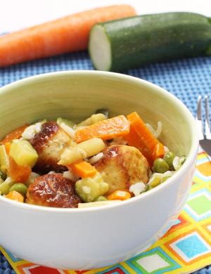 Piščančje kroglice z zelenjavo in rižem