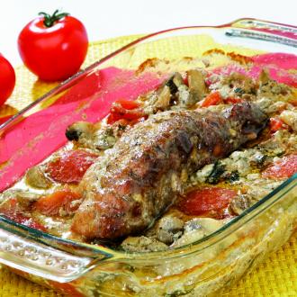Svinjska ribica z zelenjavo v pečici