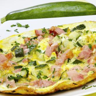 Jajca z bučkami in prekajenim mesom