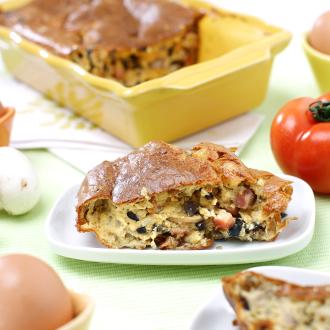 Jajčni narastek s šunko in gobami