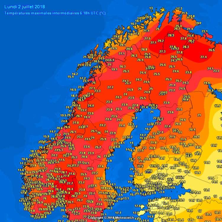 temperature skandinavija