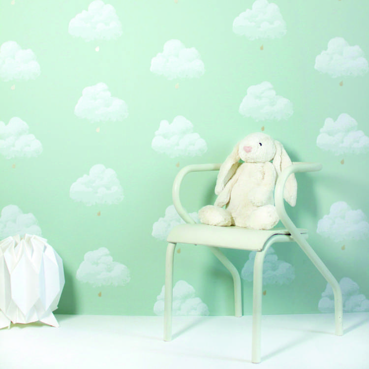 sladoledne barve  Bartsch Cotton Clouds Pale Green Wallpaper.jpg